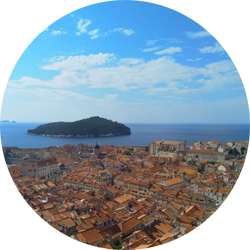 dubrovnik old town croatia europe city walls view lokrum island travel