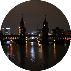 oberbaumbrucke bridge berlin travel city night germany europe